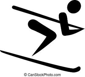 descente ski, icône