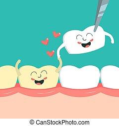 descolorado, dental, love., gengiva, dente, restauração, ...