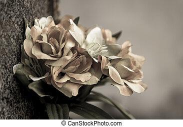 descolorido, flores