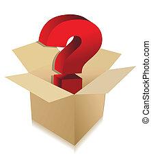 desconocido, caja, contenido, concepto