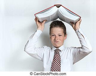 descontentado, colegial, tiros, libro grande