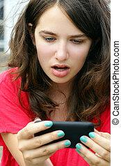 descrença, móvel, texto, sobre, telefone pilha, menina, ou