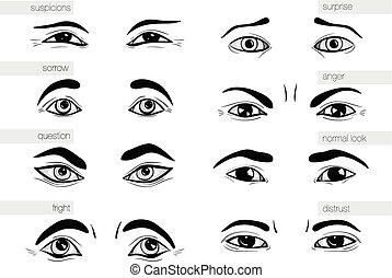 description of human emotions in his eyes