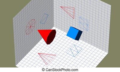 Descriptive geometry 3D projection