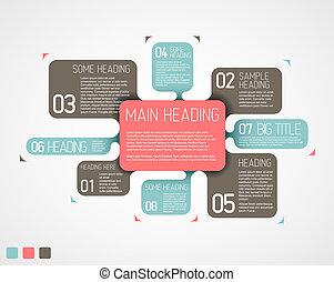 descriptivo, diagrama, vector, vario, retro, plantilla,...