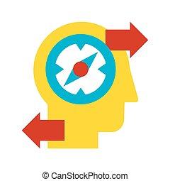 descubrimiento, solución, icono, vector, creativo, plano,...