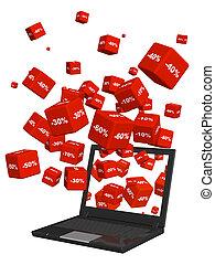 descuento, computador portatil, bienes, cajas, rojo