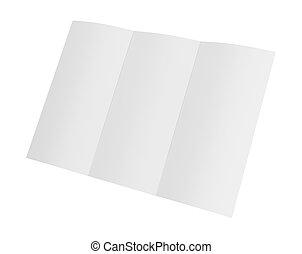 desdobrado, fazendo, papel, a4, em branco, crumpled., branca, 3d