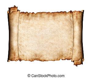 desdobrado, pedaço, de, pergaminho, antigüidade, papel, fundo