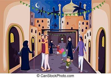 desear, familias, feliz, musulmán, eid