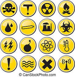 desecho tóxico, conjunto, icono