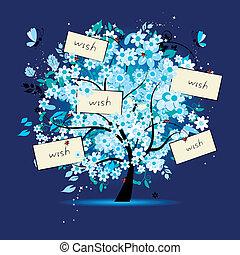 desejo, árvore, floral, texto, cartões, seu