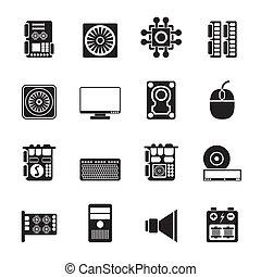 desempenho, ícones computador