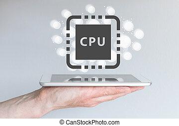 desempenho, aumento, de, cpu, poder, para, computação móvel, dispositivos, semelhante, esperto, telefone