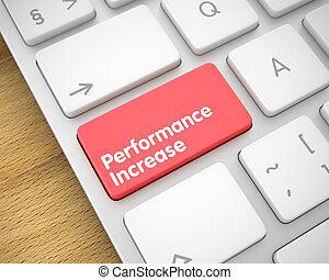 desempenho, aumento, -, mensagem, ligado, vermelho, teclado, button., 3d.