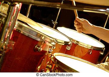 desempenho, -, tambor, faixa música
