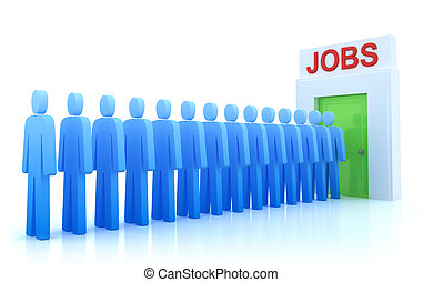 desempleado, trabajo, centro, gente