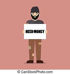 desempleado, trabajo, papel, tenencia, necesidad, mensaje, cartón, hombre