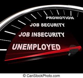 desempleo, -, palabras, en, velocímetro
