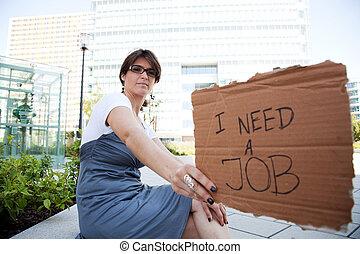 desempregado, mulher