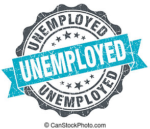 desempregado, vindima, turquesa, selo, isolado, branco