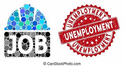 desemprego, selo, colagem, trabalho, angústia