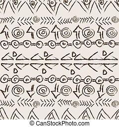 desenhado, étnico, arabescos, fundo, mão
