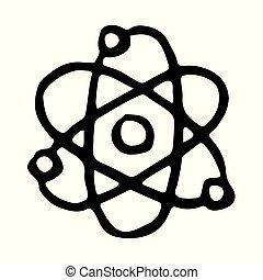 desenhado, ícone, doodle, mão, átomo