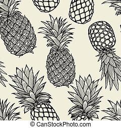 desenhado, abacaxis, sketch., mão