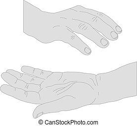 desenhado, aberta, mãos