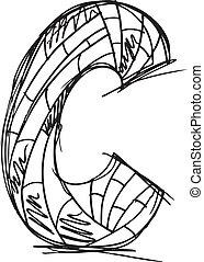 desenhado, abstratos, c, letra, mão