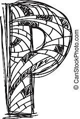 desenhado, abstratos, mão, carta p
