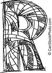 desenhado, abstratos, r, letra, mão