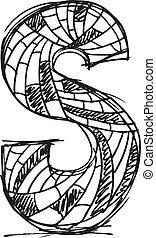 desenhado, abstratos, s, letra, mão