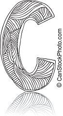 desenhado, abstratos, vetorial, mão, letter.