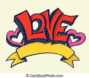 desenhado, ame corações