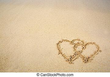 desenhado, areia, praia., dois corações
