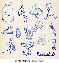 desenhado, basquetebol, jogo, mão, ícone
