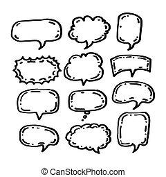 desenhado, borbulho fala, ícone, mão