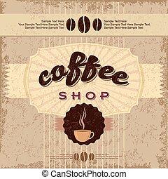 desenhado, café, etiquetas, mão, vindima