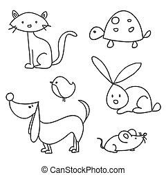desenhado, caricatura, animais estimação, mão