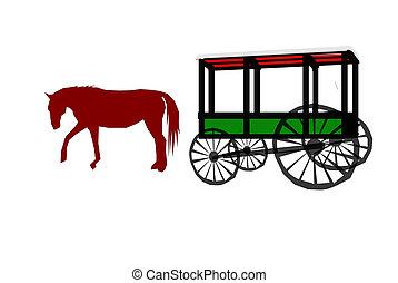 desenhado, cavalo, carruagem