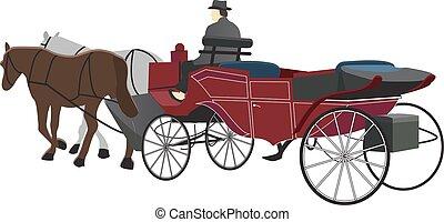 desenhado, cavalo, carruagem, ilustração