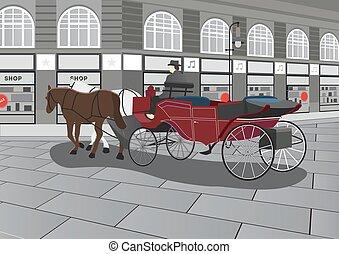 desenhado, cavalo, rua, carruagem, ilustração