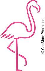desenhado, cor-de-rosa, linhas, flamingo