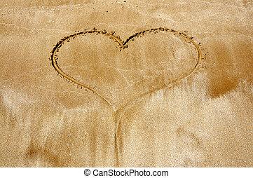 desenhado, coração, mão