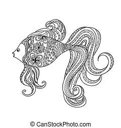 desenhado, decorado, caricatura, peixe, mão