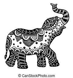 desenhado, elephant., indianas, mão