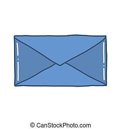 desenhado, envelope., ilustração, mão