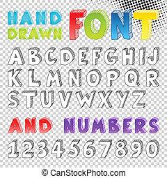 desenhado, esboço, fonte, mão